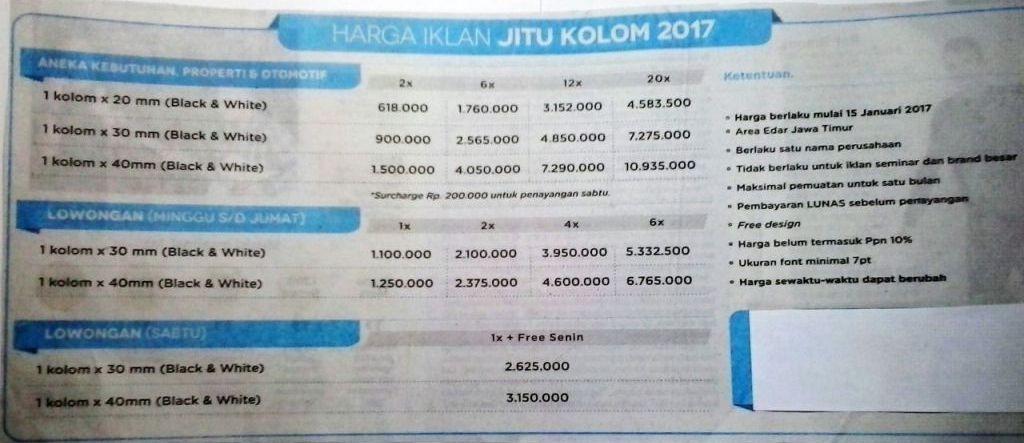 Iklan Jawa Pos Jitu Kolom